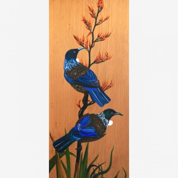 A pair of Tuis Original Ink on Wood by Carolyn Judge Square