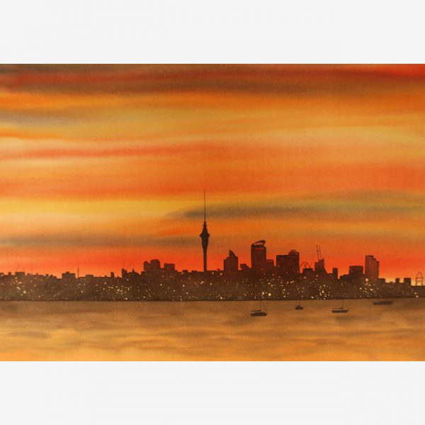 Auckland Sunset, Carolyn Judge Watercolours Square