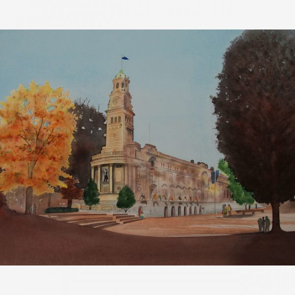 Auckland Town Hall, Carolyn Judge Watercolours Square
