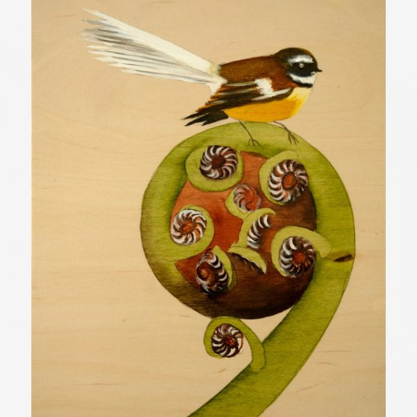 Fantail on Koru Original Ink on Wood by Carolyn Judge Square