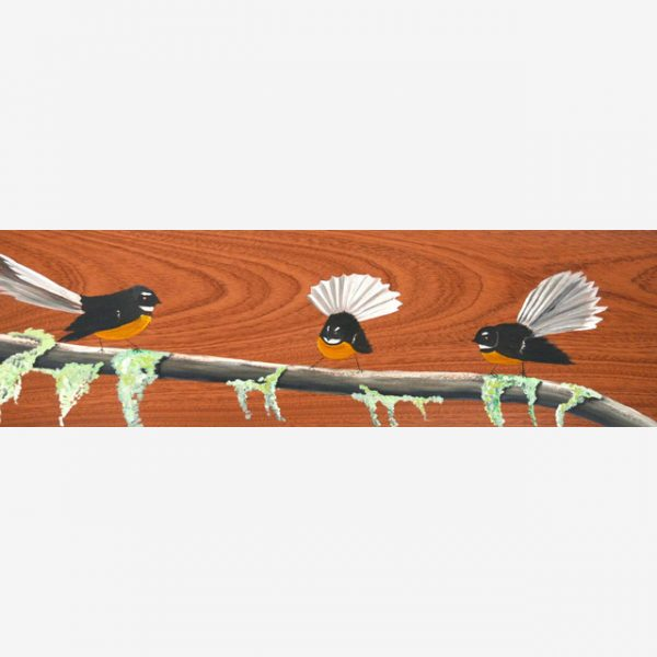 Fantails on a Mossy Branch Original Ink on Wood by Carolyn Judge Square