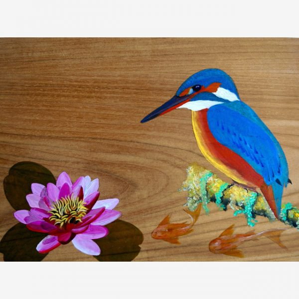 Kingfisher on mossy branch Original Ink on Wood by Carolyn Judge Square