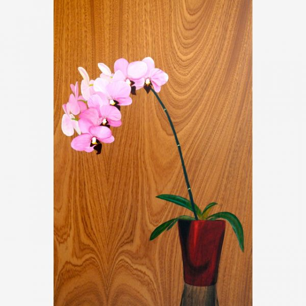 Orchid Original Ink on Wood by Carolyn Judge Square