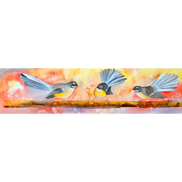 Three Fantails on a Branch Square