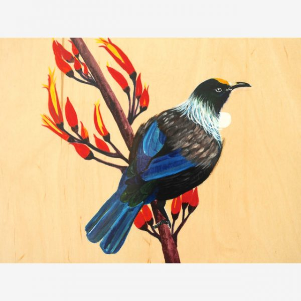 Tui Original Ink on Wood by Carolyn Judge Square